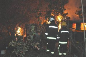 allotment on fire with fire brigade in attendance
